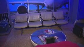 Man turns basement into airport terminal replica