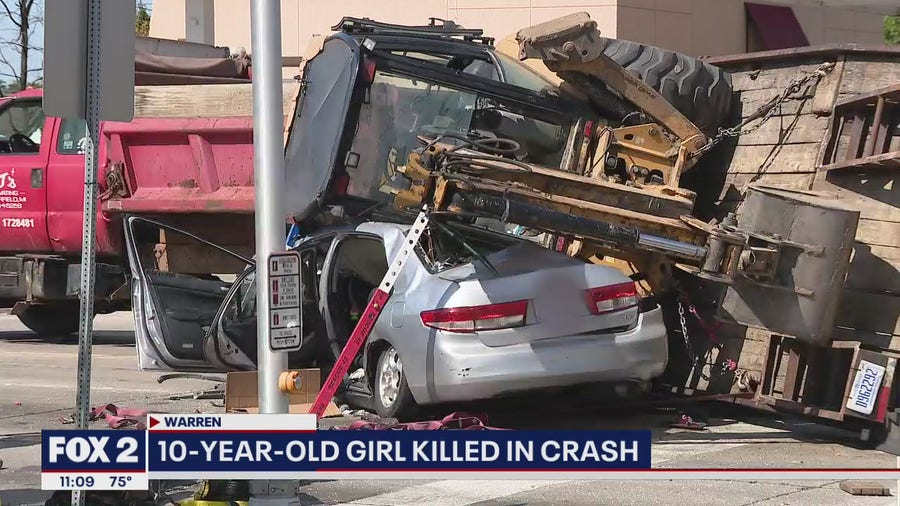 10-year-old killed in Warren crash by dump truck carrying Excavator