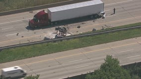 Car goes under semi in chain-reaction crash on I-75, MSP searching for unrelated suspect with knife in area