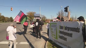 Protest held against proposed Amazon center at State Fairgrounds