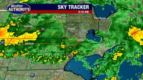 Thursday morning rain may be heavy at times, drying this afternoon.