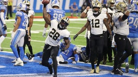 Saints score 5 straight TDs in 35-29 win over Lions