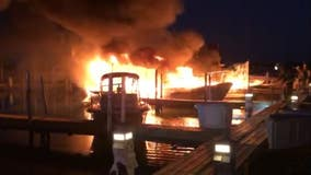 Grosse Ile first responders battle blaze at Ford Yacht Club