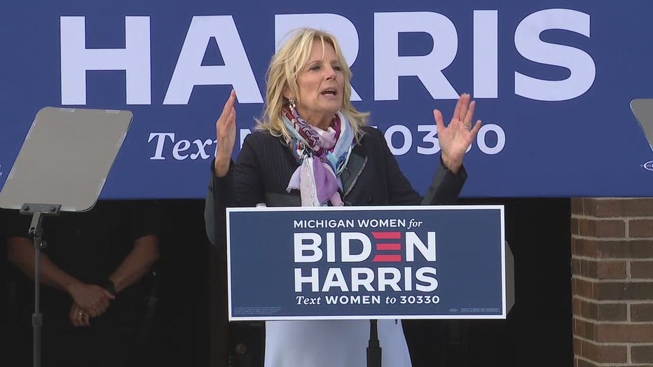 Dr. Jill Biden stopped in Madison Heights during a brisk campaign sweep of Michigan with five locations in total, Tuesday.