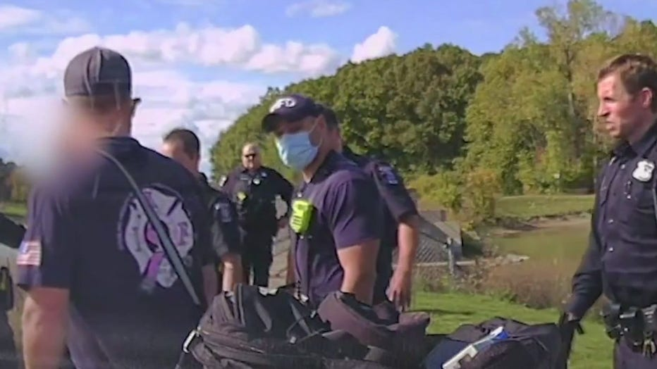 Sterling Heights police officers and other first responders help the man in crisis.