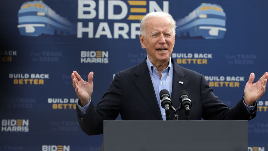 712e379d-Democratic Presidential Nominee Joe Biden Holds Train Campaign Tour Of OH And PA