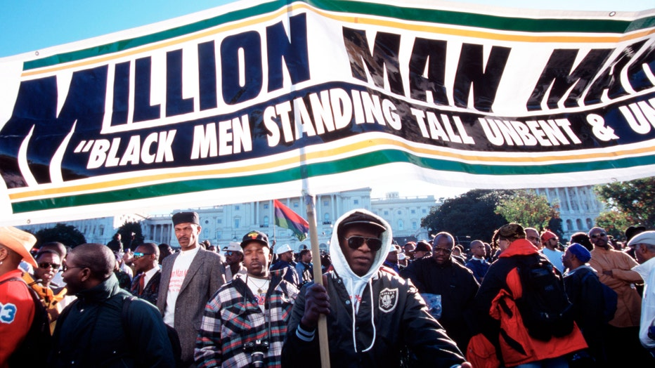 Participants in the Million Man March, a day of atonement and reconciliation conceived by Louis Farrakhan for African-American men. (Photo by James Leynse/Corbis via Getty Images)