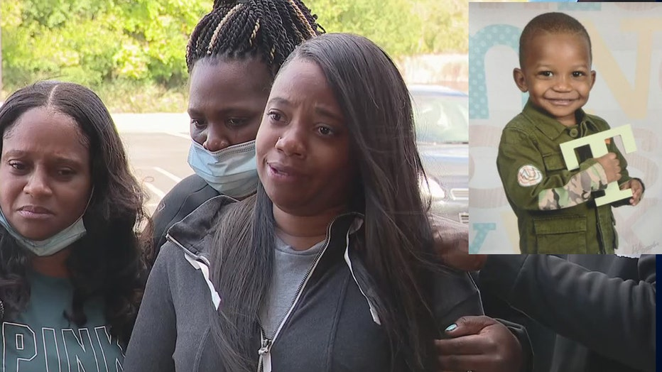 Mother Brittany Thompson; inset: Tai'raz Moore who was killed.