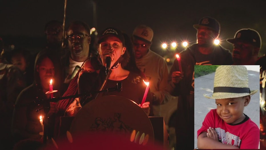 Detroit Councilwoman Mary Sheffield at the candlelight vigil. Inset: Murder victim Tai'raz Moore.