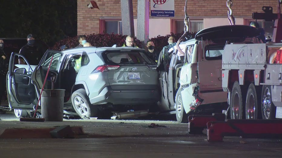 Police said a woman was killed after being involved in a crash as a car was driving two Inkster shooting victims to the hospital.