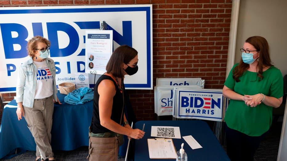Women campaign for Democrat Joe Biden