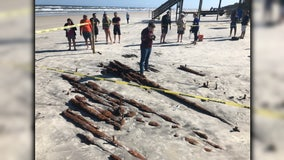 Mysterious shipwreck that may date back to 1800s emerges on Florida beach after Tropical Storm Eta