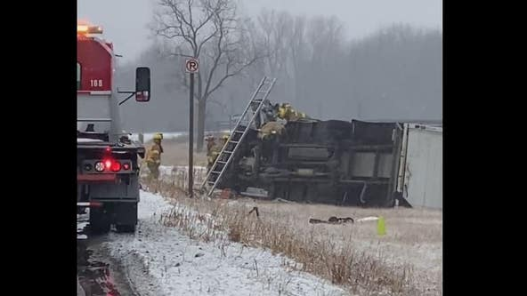 1 dead after semi-truck crash in Chesterfield Township