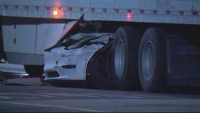 Detroit police believe Tesla that got lodged under semi was not on autopilot