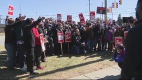 Rashida Tlaib and Debbie Dingell stand with union workers protesting Kuerig Dr. Pepper facility in Redford