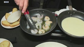Celebrating garlic month with Carrabba's Italian Grill as they show us how to make shrimp scampi