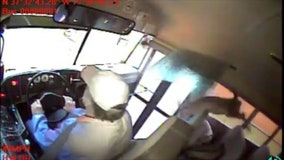 Shocking video captures moment deer crashes through school bus windshield, landing on student