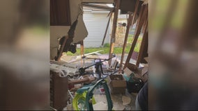 Sisters seek help after car crashes into their home