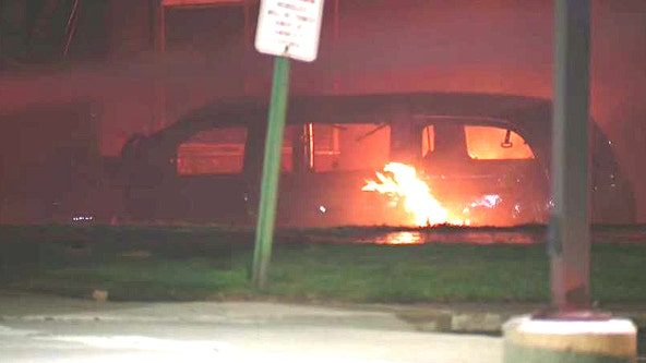 Car crashes into Highland Park apartment, igniting large fire