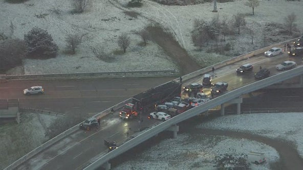 Jackknifed semi leads to massive pile-up on I-696 freeway ramp in Macomb County