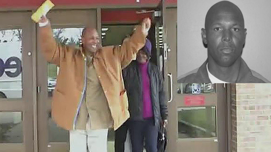 Danny Burton the day he was exonerated and released from prison after 32 years in 2019. Inset: Burton's prison photo