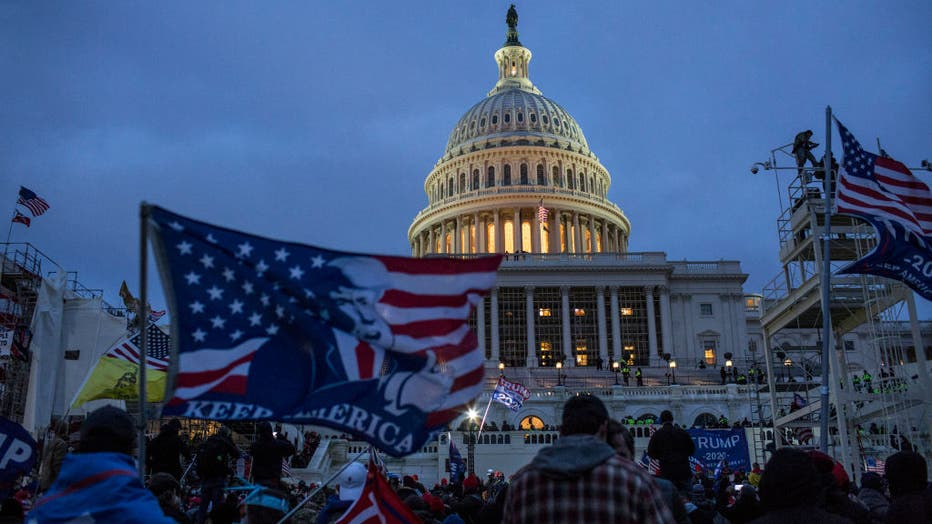 US President Donald Trump supporters gather outside the