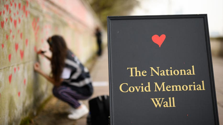 Hearts Are Added To The Covid-19 Memorial Wall In Central London