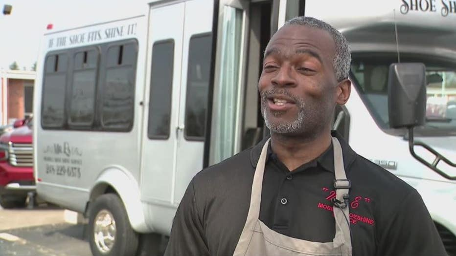 Meet Elisha Anderson, AKA Mr. E, who has pivoted with his shoeshine business to go on the road.