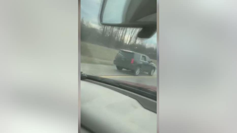 Video still allegedly shows State Rep. Jewell Jones driving on the shoulder of the freeway before his arrest.
