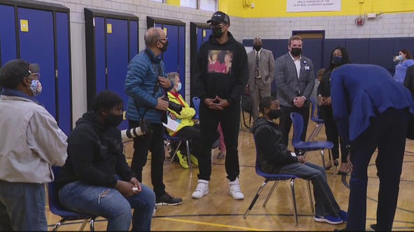 Jalen Rose on hand at pop-up vaccination clinic at his leadership academy