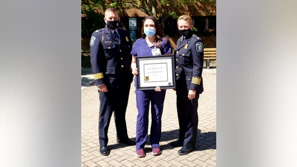 Ann Arbor police honor woman who risked own safety to help Briarwood Mall shooting victim