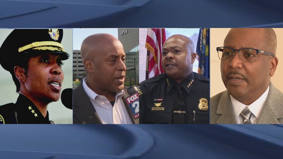 Possible candidates to replace Detroit Police Chief James Craig: Renee Hall, left, Detroit Fire Commissioner Eric Jones, Southfield Police Chief Elvin Barren and James White.