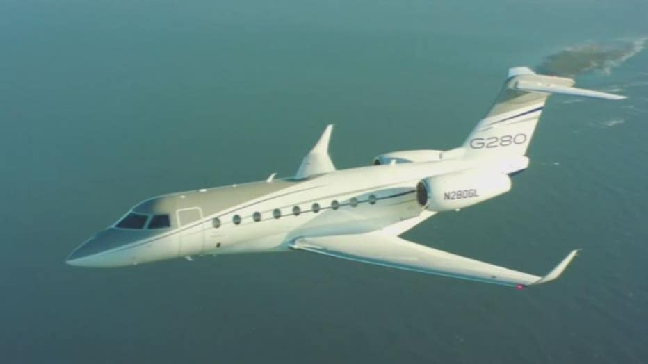 A Gulf Stream g280 like the plane Gov. Whitmer flew on to visit her father in March.