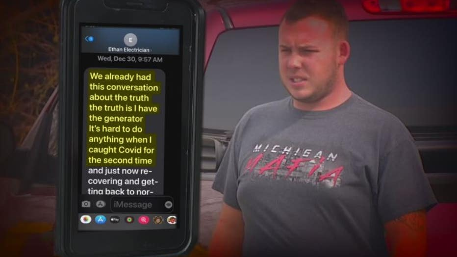 Plumber Ethan Mckarge's texted excuses for unfinished work according to one customer.
