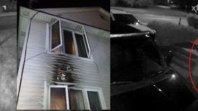 VIDEO: Suspect firebombs Pontiac home, flees on foot