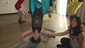 FOX 2's Robin Murdoch jumped into an aerial yoga session in Royal Oak