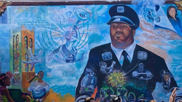 On the mural is Jason Hargrove, a 50-year-old bus driver who died from the virus in 2020