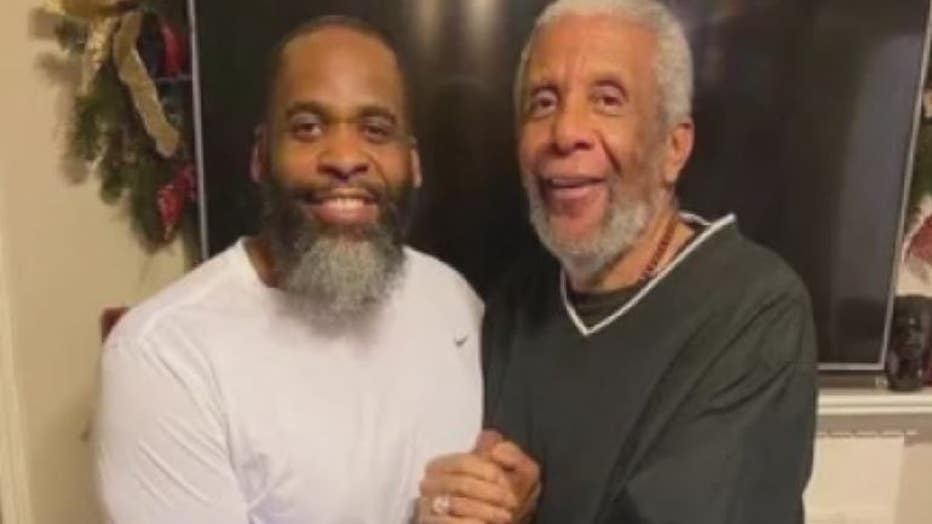 Kwame Kilpatrick and his father, Bernard, in a photo after his prison release.