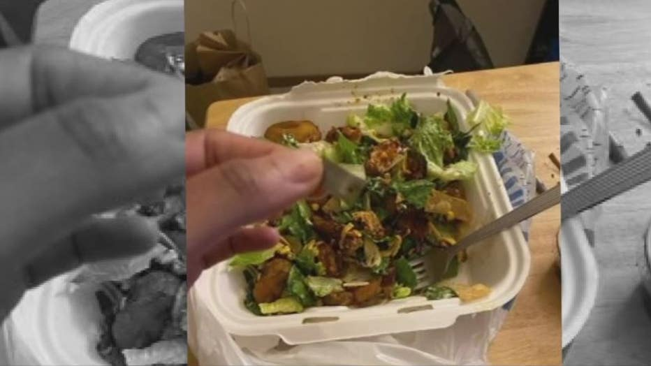 A picture of what Zenarra James says she found inside a piece of chicken inside her salad.