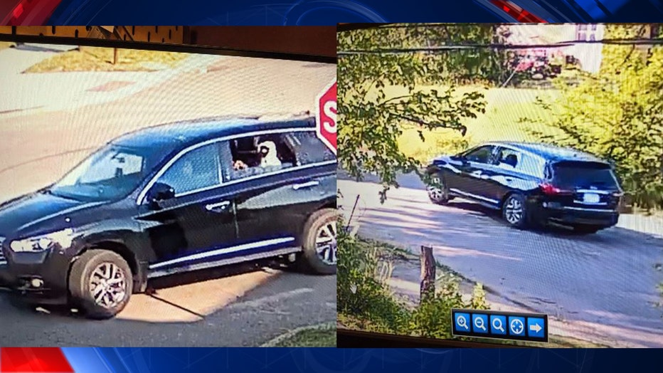 Detroit police released photos of the shooting suspects' black Infiniti SUV.