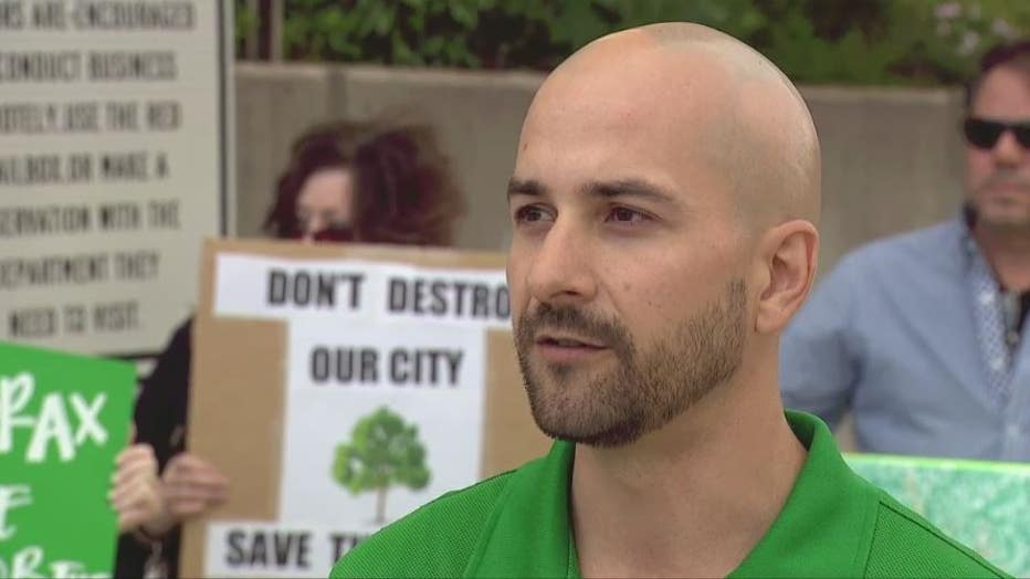 Brent Sabo is leading a group of residents upset over the planned removal of at least 400 trees for street projects.