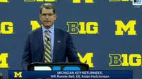 WATCH - Michigan head coach Jim Harbaugh talks rivalries and QB competition at Big 10 Media Day