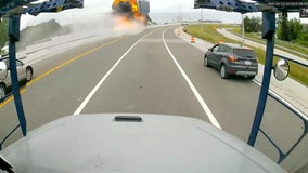 Video shows tanker truck crashing, exploding into flames on I-75 in Troy