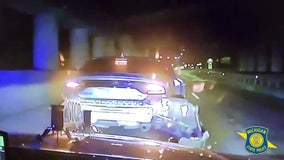 VIDEO: Suspects in stolen Charger run out of gas mid-chase with Michigan State Police