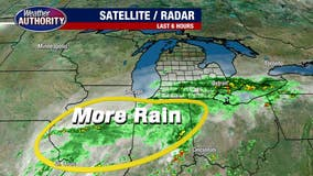 Friday forecast has heavy rain until mid-afternoon, moderate showers into Saturday
