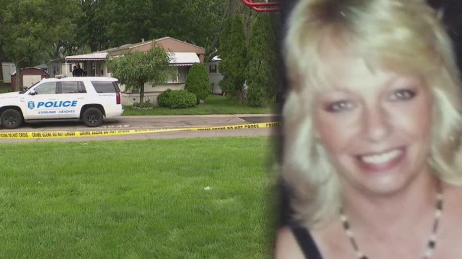 Kathleen Hales and the mobile home she was found dead inside.