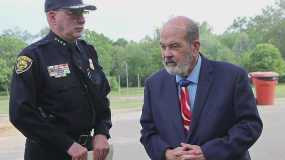 Police Chief Ronald Haddad with Mayor Jack O'Reilly.
