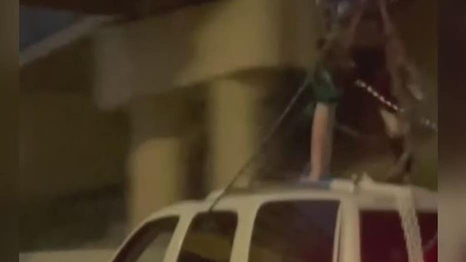This snapshot of the video shows the restraints the joyrider was using in Lonnie Webster's video.