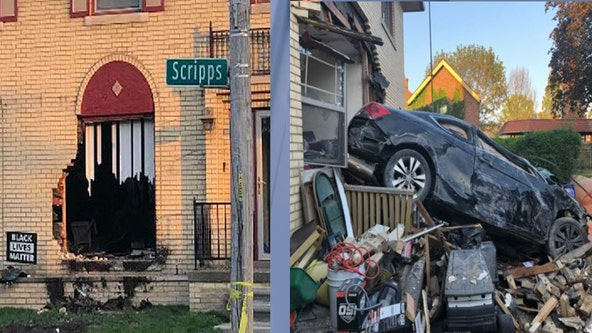 Speeding car crashes into - and through house on Detroit's east side