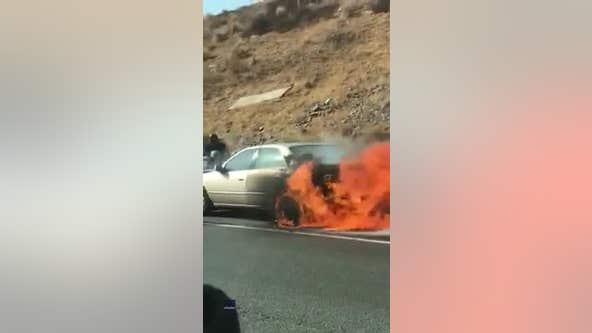Good Samaritans pull elderly couple from burning car in Southern California